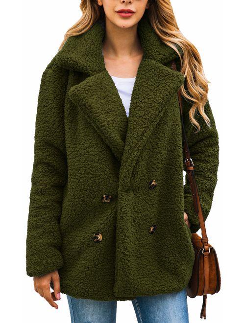 Womens Coat Casual Lapel Fleece Fuzzy Faux Fur Cardigan Shearling Zipper Warm Winter Outwear Jackets