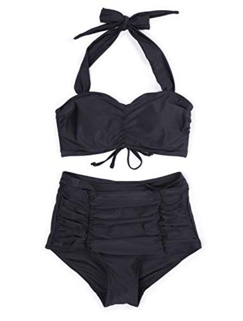 CHERRY CAT Womens Retro Bikini High Waist Vintage Style Swimsuit 50s Pinup Bathing Suit