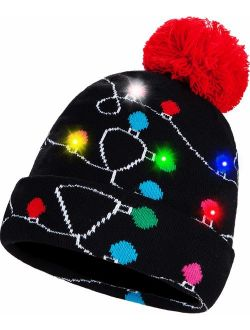 BLUBOON Novelty LED Light Up Christmas Hat Knitted Ugly Sweater Holiday Xmas Beanie Colorful Funny Hat Gift