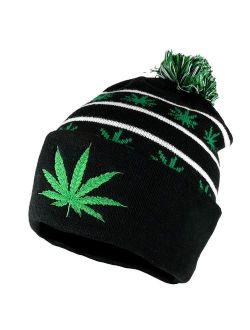 Marijuana Leafs Pom Pom Acrylic Beanie Hat