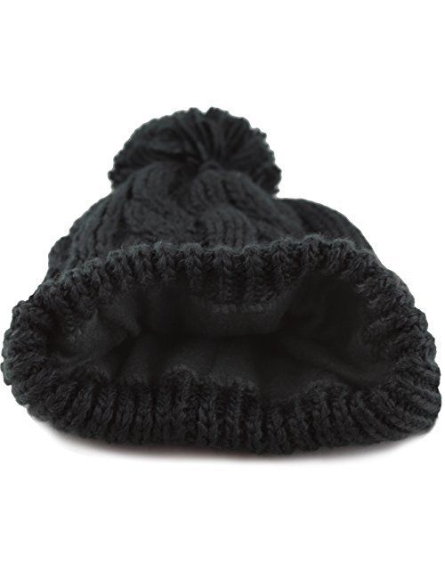 The Hat Depot Women Winter Oversized Chunky Thick Stretchy Knitted Pom Pom Beanie Fleece Lined Beanie Hat