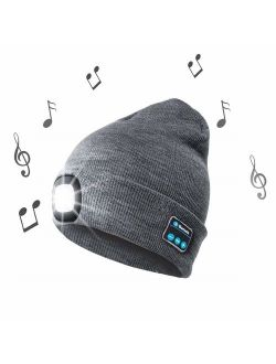 OHYGGE Bluetooth Unisex 4 LED Knitted Flashlight Beanie Hat/Cap for Hunting, Camping, Grilling, Auto Repair, Jogging, Walking, or Handyman Working - One Size Fits Most