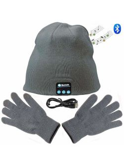 Zonman Wireless Bluetooth Hat Headphones+Free Touchscreen Gloves for Fitness Outdoor Sports Walking (Gray)