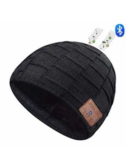 Zonman Bluetooth Beanie Hat Wireless 4.2 Hands-Free Knit Music Cap with HD Stereo Speaker Headphone Mic Rechargeable USB for Winter Fitness Outdoor Sports