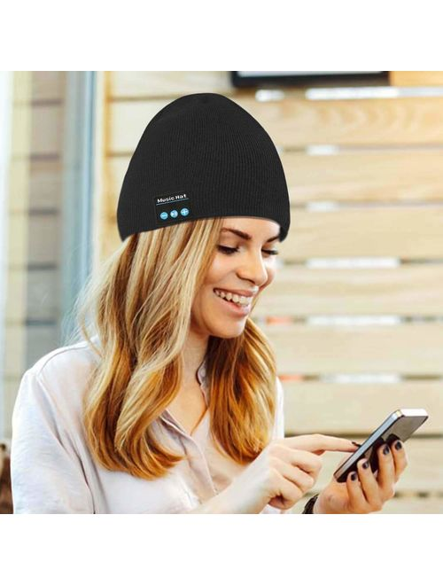 Bluetooth Hat, Bluetooth Beanie, Wireless Bluetooth Headset Music Hat with Built-in Stereo Speakers Fit for Outdoor Sports