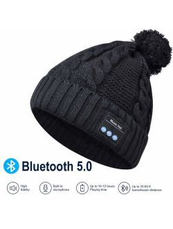 WirelessEarphone BeanieUpgraded Bluetooth 5.0 and SiriBuilt-in HD Stereo Speakers & Microphone as Birthday, Electronic, Music Gifts for Outdoor Sports Running Walking Jog