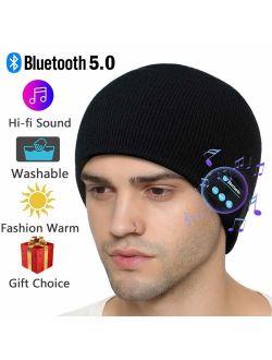 Bluetooth Beanie Hat, Wireless Smart Beanie Bluetooth 5.0 Knit Music Cap with Stereo Speakerphone Detachable Built-in Mic Washable Bluetooth Beanie for Men Women Family F