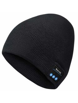 Bluetooth Beanie,Upgraded Bluetooth V5.0 Unisex Knit Wireless Beanie Bluetooth Hat with Built-in HD Stereo Speakers & Microphone Washable Beanie with Bluetooth for Men Wo