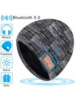 Bluetooth Beanie Hats Gifts for Men Women Hands-Free Microphone Headset 12-Hour Play Time Warm Washable
