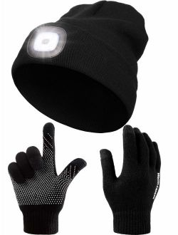 LED Unisex Beanie Cap 3 Modes Light Up Anti-Slip Silicone Screen Touch Glove