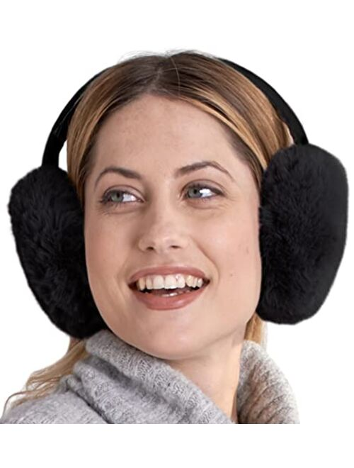 Womens Ear Muffs - Winter Ear Warmers/Covers - Cable Knit Furry Fleece Earmuffs for Cold Weather
