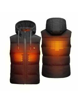 DEWBU Heated Vest Electric Men's Hoodie Jackets Coat Winter Heat Clothing 5000mAh 7.4V Battery Pack Included