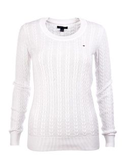 Womens Scoop Neck Cable Knit Sweater