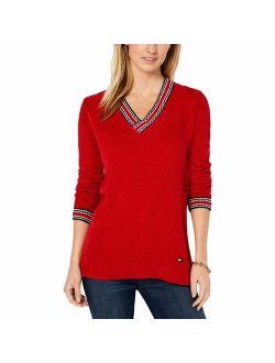 Womens Striped Ribbed Trim V-neck Sweater