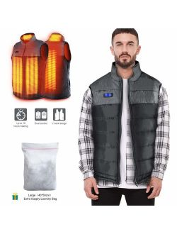 Heated Vest for Man/Woman, Electric Heating Coat Dual Independent Temperature Control Extra Collar Heated Hiking, Ice skating for Heated Jacket/Sweater/Thermal Underwear