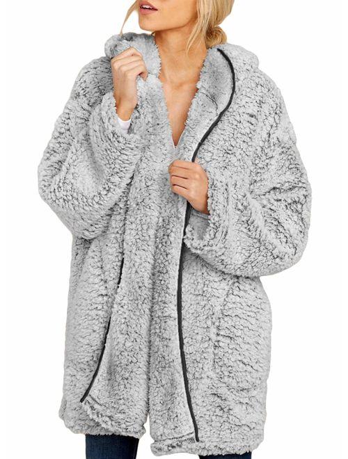 Surmajes Women Fleece Coat Hooded Jacket Open Front Loose Warm Cardigan with Pockets
