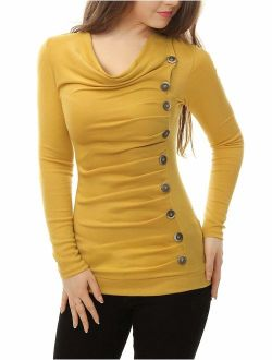 Women's Cowl Neck Long Sleeves Buttons Decor Ruched Top