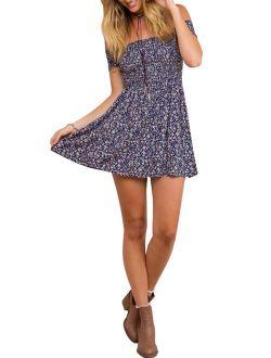 Women's Vintage Off Shoulder High Waist Floral Print Beach Mini Dress