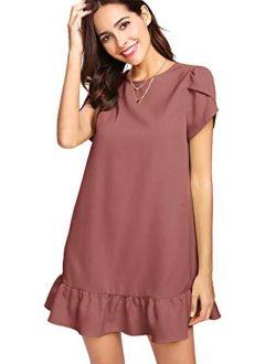 Women's Round Neck Petal Short Sleeve Ruffle Hem Tunic Dress