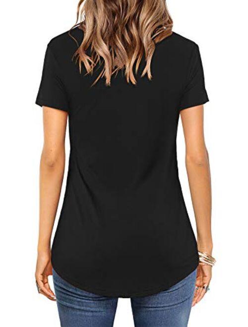 Amoretu Womens Casual V Neck Short/Long Sleeve Criss Cross T-Shirt Blouse Tops