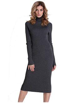 Women Sweater Dress Turtleneck Ribbed Knit Slim Fit Long Sleeve Midi Dress