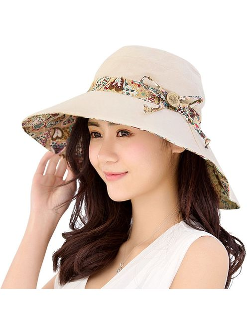 HINDAWI Womens Sun Hat Summer UPF 50+ UV Protection Beach Hat Foldable Wide Brim Cap