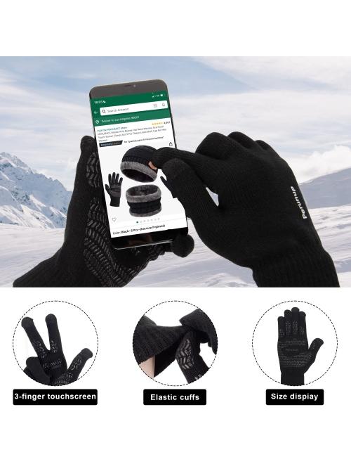 Maylisacc Winter Knit Beanie Hat Neck Warmer Scarf and Touch Screen Gloves Set 2/3 Pcs Fleece Lined Skull Cap for Men Women