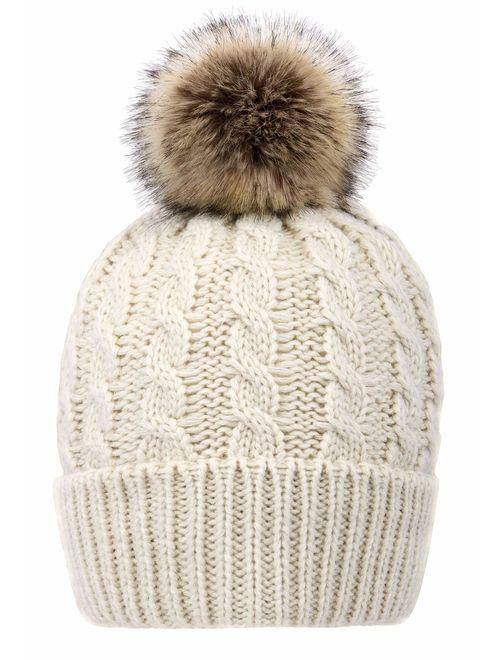 Livingston Women's Winter Soft Knit Beanie Hat with Faux Fur Pom Pom
