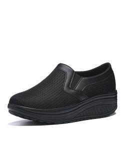 L LOUBIT Women Wedge Shoes Breathable Mesh Sneakers Slip On Comfort Walking Shoes