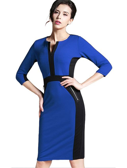 HOMEYEE Women's Stretch Tunic Pencil Sheath Dress U837