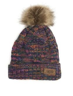 ANGELA & WILLIAM Women's Winter Fleece Lined Cable Knitted Pom Pom Beanie Hat
