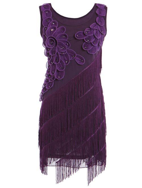 PrettyGuide Women's 1920s Beaded Fringe Scalloped Petal Plus Size Embellished Flapper Dress