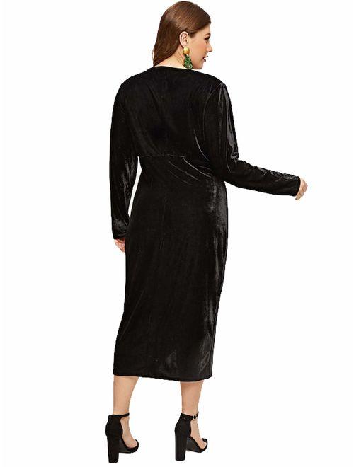 ESPRLIA Women's Plus Size High Waist Velvet Sexy Faux Wrap Pencil Cocktail Midi Dresses
