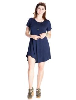 JollieLovin Women's Tunic Top Casual Short Sleeve Swing Loose T-Shirt Dress