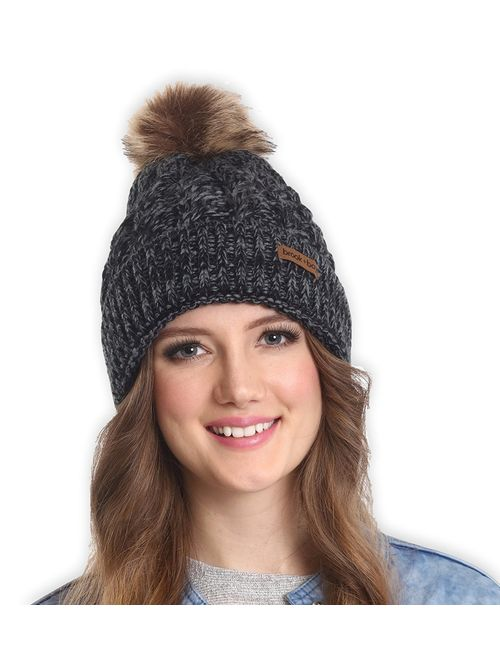 Brook + Bay Faux Fur Pom Pom Beanie for Women - Warm & Cute Cable Knit Winter Hats - Thick, Chunky & Soft Stretch Knitted Caps for Cold Weather - Stylish & Trendy Snow Be