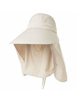Siggi Summer Bill Flap Cap UPF 50+ Cotton Sun Hat with Neck Cover Cord for Women