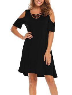 Bluetime Women Summer Cold Shoulder Criss Cross Neckline Short Sleeve Casual Tunic Top Dress (S-3XL)