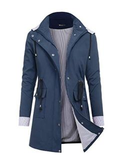 RAGEMALL Women's Raincoats Windbreaker Waterproof Lightweight Outdoor Hooded Trench Coats