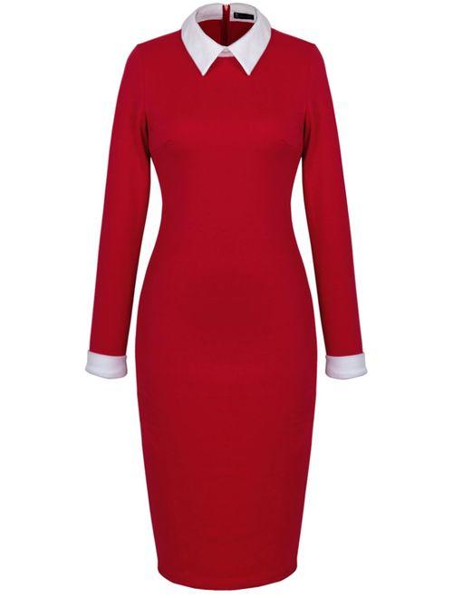 HOMEYEE Women's Celebrity Turn Down Collar Business Bodycon Dresses