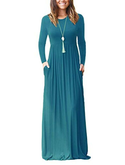 HAOMEILI Long Sleeve Loose Plain Long Maxi Casual Dresses with Pockets