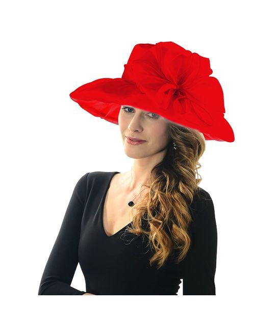 Acecharming Women Organza Kentucky Derby Fascinator Lady Cocktail Tea Party Church Wedding Bridal Flower Hat