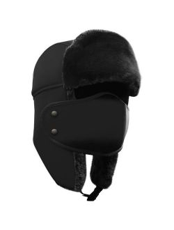 AKASO Winter Hat with Ear Flaps, Trooper Trapper Hat, Detachable Face Mask, Windproof Waterproof and Breathable, Faux Fur Ushanka Hunting Hat, Snow Hat, Free Neck Gaiter