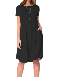levaca Women's Summer Plain Short Sleeve Pockets Swing Loose Casual Midi Dress
