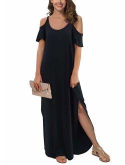 Women's Summer Casual Loose Long Dress Strapless Strap Cold Shoulder Short Sleeve Split Maxi Dresses With Pocket