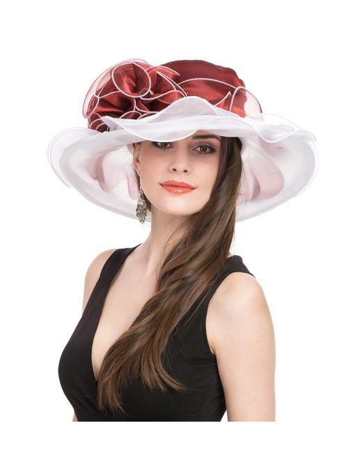 SAFERIN Women's Organza Church Kentucky Derby Fascinator Bridal Tea Party Wedding Hat
