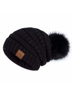 Womens Winter Slouchy Beanie Hat, Knit Warm Fleece Lined Thick Thermal Soft Ski Cap with Pom Pom