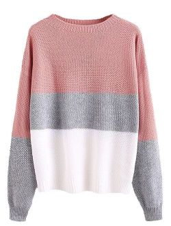 Milumia Women's Drop Shoulder Knitted Color Block Textured Jumper Casual Sweater