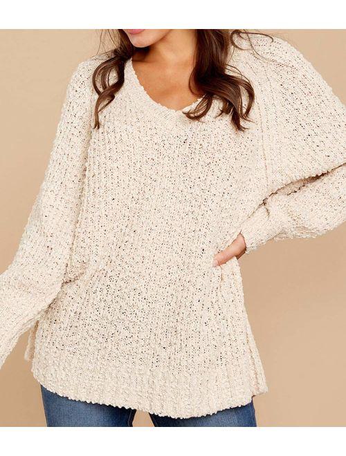 KIRUNDO Women's Winter Fuzzy Popcorn Sweater V Neck Long Sleeves Loose Fit Sweatshirt Solid Tops Pullover