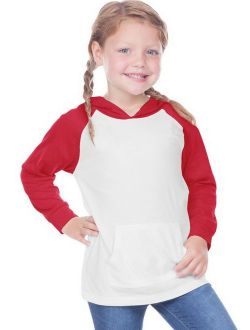 Kavio TJP0677 Toddler Jersey Contrast Raglan Long Sleeve Hooded Top w. Pouch-White / Red-2T