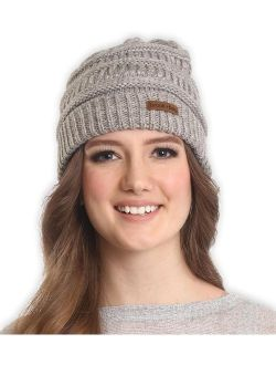 Brook + Bay Cable Knit Beanie for Women - Warm & Cute Multicolored Winter Hats - Thick, Chunky & Soft Stretch Knitted Caps for Cold Weather - Stylish & Trendy Snow Beanie